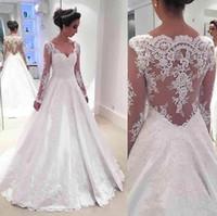 Arabisch Lange Ärmel Eine Linie Brautkleider Bescheidene Spitze Brautkleider V-ausschnitt vestido de novia BA7332