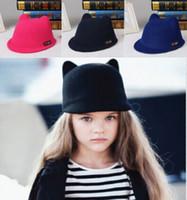 도매 - 부모 - 아이 모자 2015 새로운 54cm 57cm 여성을위한 귀여운 가족 귀 모자 모직 귀여운 자동차 귀 모자 겨울 페도라