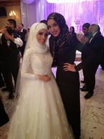 Vestidos de novia 2015 Una línea Vintage árabe musulmán islámico con manga larga Apliques de encaje Cuello alto Mideast Vestidos de novia