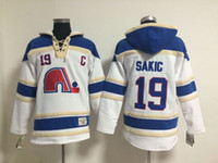 Top Qualität ! Quebec Nordiques Old Time Hockey Trikots 19 Joe Sakic Blau Weiß Hoodie Sweater Winter Jacke