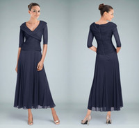 2015 Navy Blue V Neck Mother of the Bride Dresses with Half Sleeves Pleats Ankle Length Mother of the Groom Dress Formal Gowns