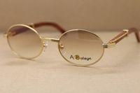 золотые деревянные очки кадры оригинальные 2822546 Круглые металлические солнцезащитные очки солнцезащитные очки женщин на открытом воздухе вождения C Украшение золотой раме Размер: 53-22-135mm