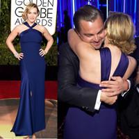 2016 Sexy Side Split Fourreau Rouge Tapis Robes De Soirée Bleu Royal Élégant Kate Winslet 73e Golden Globe Awards Robe De Célébrité Formelle