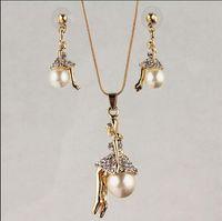 Trasporto libero nuovo modo 18k oro giallo riempito perla ragazza chiaro cristallo austriaco collana orecchino catena di gioielli set