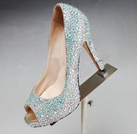 Dazzling Crystal AB Strass Crystal High Platform Shoes Peep Toe Diamond strass 4 pollici Tacchi alti scarpe da sposa Prom partito tacchi alti
