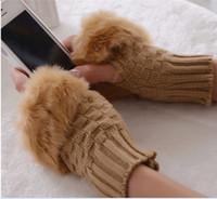 Luvas de inverno mais quente fingerless malha guarnição da pele Luvas 12pairs / lot frete grátis