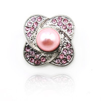 Fashion Pink Pearl 18mm Snap Buttons Metal Clasp For DIY Int...