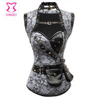 Atacado-gótico Steampunk espartilho com jaqueta espartilho burlesque Senhoras Outfit vestuário aço desossada espartilho Corselet Formação Corselet