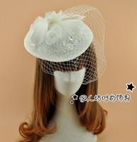 Weiße Braut Hüte Fascinators Sinamay Hüte Verkauf Fabrik Großhandel Braut Haarschmuck Hochzeit Hüte für Bräute tocados Sombreros bodas