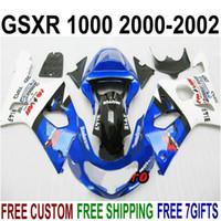 Kit de carenado personalizado gratuito para SUZUKI GSXR1000 K2 2000 2001 2002 carenados de plástico azul blanco negro conjunto GSX-R1000 00 01 02 HV33