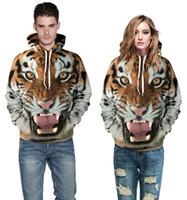 2016 мода мужчины 3D цифровая печать толстовки кофты женщины свирепый тигр плюс размер круглый шею хеджирования с капюшоном пара комплект одежды