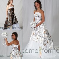 White Real Tree Camo Hi- Low Wedding Dresses with Train Strap...
