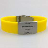lasergravur information einstellbar kinder silikon medizinische mutter allergie alarm ID armband mit metallverschluss und platte