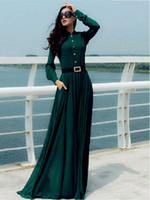 도매 - HOT 2015 새로운 도착 카프 탄 아바야 이슬람 무슬림 여성 긴 소매 빈티지 긴 맥시 드레스 여성 패션 드레스