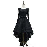 Küçük Kara Elbiseler Bütün Dantel Uzun Kollu Scoop Boyun Hi-lo Örgün Parti Balo Kıyafeti Özel Kokteyl Elbise 2017