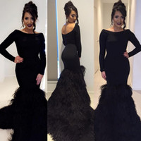 Luxury Feather Long Sleeves Dresses Party Evening Sexy Black...