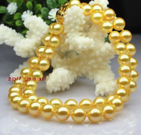 """Fast Free shipping New Real Fine Pearl Jewelry 19""""9-10mm NATURAL REAL round south sea golden pearls necklace 14K YG"""