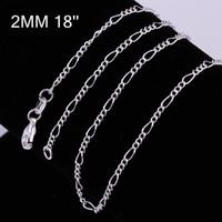 925 الفضة الاسترليني سلسلة غرامة أزياء سلسلة مجوهرات فضية 2MM 16-24inch سلاسل