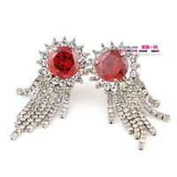 Pendientes de mujer de borlas blancas de cristal rojo (45 * 16 mm (ming)