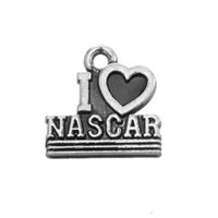 Free shipping New Fashion Easy to diy 30Pcs Alphabet I Love Nascar Charm Hollow Heart Charm Jewelry jewelry making fit for necklace or brace