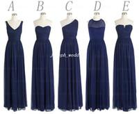 Ücretsiz Kargo Gerçek Örnek Resim 5 Stilleri Şifon Kat Uzunluk Uzun Koyu Lacivert Nedime Elbisesi Kadın Elbisesi Toptan BD336