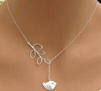 Livraison gratuite 925 collier en argent bijoux femme rétro oiseaux branches collier clavicule chaîne simple collier frais pandant min 12pcs