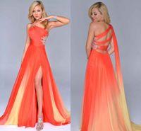 Gradienten Ombre Prom Kleider Orange Chiffon Side Split Abend Abendhemd One-Shoulder Party Kleid Criss Kreuz Riemen Zurück Schöner