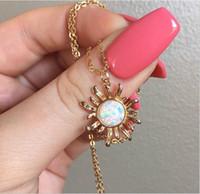 Luxo Mulheres Moda girassol Colar Áustria cristal opala Pendant Zircon