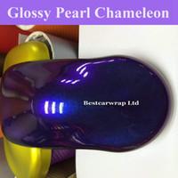 Lila blaue Perle Gloss Chamäleon Vinyl Wrap Film Mit Luftblasenfrei Glänzenden Flip Flop Glitter Perle Auto Wrap Aufkleber Größe: 1,52 * 20 Mt / Rolle