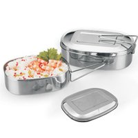 Stainless Steel Bento Box Tableware Portable Dinner Bucket F...