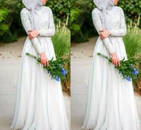 Vestidos de casamento muçulmanos com hijab simples puro branco frisado c Rystals decote de manga longa chiffon vestido de casamento islâmico