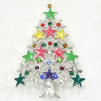 12pcs / lot 도매 다채로운 크리스탈 라인 석 Enameling 크리스마스 트리 핀 브로치 크리스마스 선물 브로치 C550