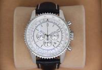 Spost Pilot Watch Chronograph جودة الرجال 47MM NAVITIMER الاتصال الهاتفي الأبيض اليابان الكوارتز حركة الجلود فرويع حزام الساعات