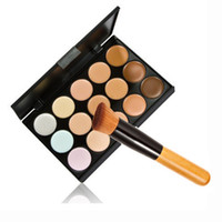 Wholesale-15 Color  Natural Face hide imperfections concealer corrector cosmetics Contour  Palette + Brush  set