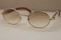 2020 New Decor Вуд рамка 7550178 деревянные солнечные очки Круглые солнцезащитные очки Мужчины C украшения алмаз очки женщин мужчины Размер кадра: 57-22-135mm
