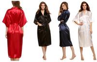 Traje de Kimono de seda sólida de las mujeres de la manera para las damas de honor, pijamas del vestido de noche del banquete de boda, 5 colores disponibles Envío libre