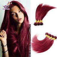 Burgundia Włosy 99j Brazylijski Dziewiczy Włosy Proste Bresilien Vierge Humain Tissage Cheveux Proste Red Hair Extensions 4 sztuk 100% Human Włosy
