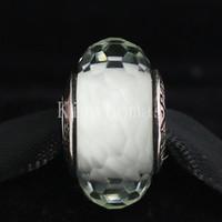 Perline sfaccettate fai da te a mano in vetro di Murano 925 sterling silver con perle sfaccettate in vetro di Murano adatto ai braccialetti europei Pandora