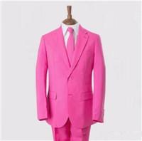 2016 사용자 정의 만든 핑크 턱시도 두 개의 버튼이 남자 결혼식에 맞는 무료 댄스 파티복(재킷+바지 묶어)