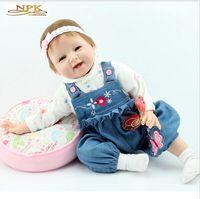 22 '' Reborn Baby Dolls Full Falmade Brown Eyes Silicone Vinyl nouveau-né Poupée bébé Jouets Jouets Soft Girls Cadeau