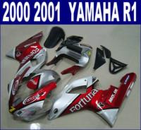Freies Verschiffen ABS Verkleidungskit für YAMAHA 2000 2001 YZF R1 YZF1000 00 01 rot silber Fortuna Kunststoff Verkleidungen Set RQ31 + 7 Geschenke