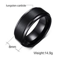 結婚指輪8mmクラシックコンフォートフィットメンズブラックタングステン炭化物ウェディングバンドリングホットセールリングアメリカとヨーロッパ
