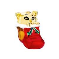 ومن ناحية المينا الأحمر والأخضر مع القط الطلاء بالذهب في عيد الميلاد سوار جورب الخرزة سحر صالح باندورا
