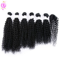 Doheroine Hair 1B# Brazilian Virgin Kinky Curly Hair 6 Bundl...