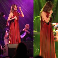 2016 Halfter Elie Saab Nancy Ajram Prom Party Kleider Chiffon Schärpe Arabisch Dubai Abendkleider A-Line Geraffte Falten Roben