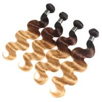 Высочайшее качество Ombre Наращивание волос Два / три тона Ombre Индийская перуанская Малайзия Бразильская объемная волна Необработанные девственные пучки человеческих волос