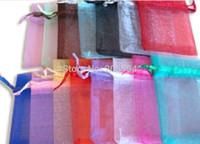 HDYU! Spedizione gratuita, sacchetti di organza estraibili 9x12 cm, sacchetti regalo di nozze, sacchetti di gioielli, sacchetti di nozze, multicolori 100 pz / lotto