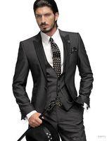 Gri Damat Smokin Best Man Tepe Siyah Yaka Groomsmen Erkekler Düğün A01 suits