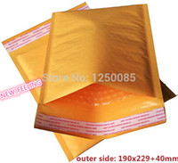 Gros-New Made Golden Kraft Bubble enveloppe enveloppe Air Bag / Dimension est 190mm x 229mm + 40 mm (170x229mm usalbe taille) 50pcs / lot FD22