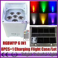 8XLOT WHIT Charging road case RGBWA UV 6IN1 Battery Wireless...